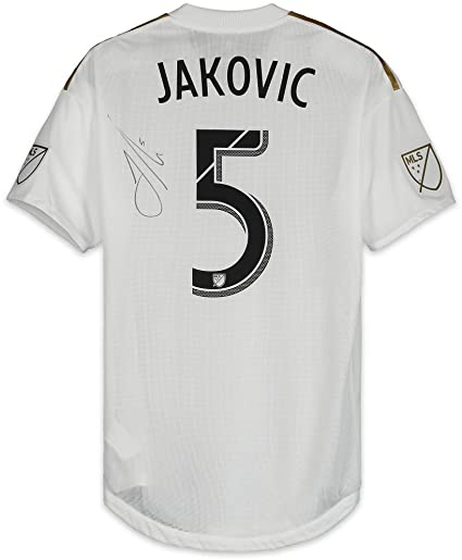 save off e4910 198dd Dejan Jakovic LAFC Autographed Match-Used White #5 Jersey vs ...