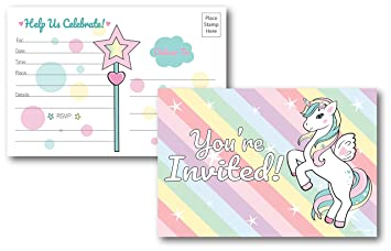 25 Fill In Unicorn Rainbow Party Invitations Postcards Birthday Decorations Baby Shower