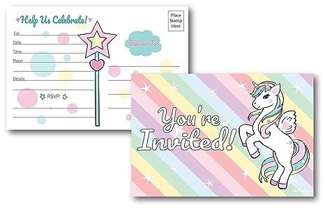25 Tarjetas De Invitación Para Fiesta De Unicornio Arcoíris