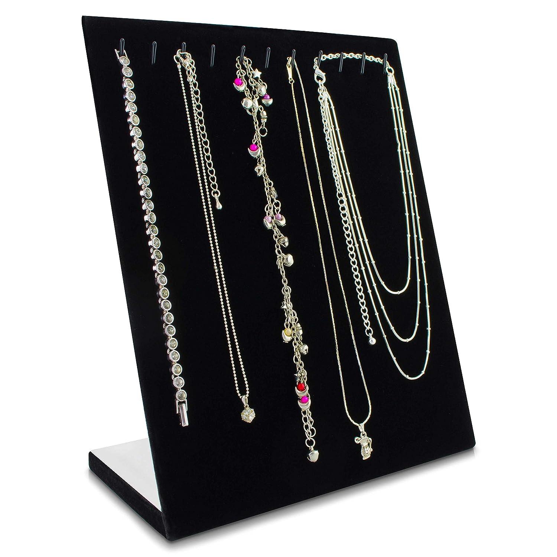 Pannello espositivo collane e collier - Nero 25 x 20 x 10 cm - Supporto verticale conservare e presentare 11 girocolli Grinscard