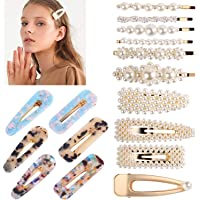 Hair Clips, TERSELY 16 PCS Women Girls Pearl Hair Clip Hairpin Slide Grips Barrettes Charm Fashion crystal Large Hair…