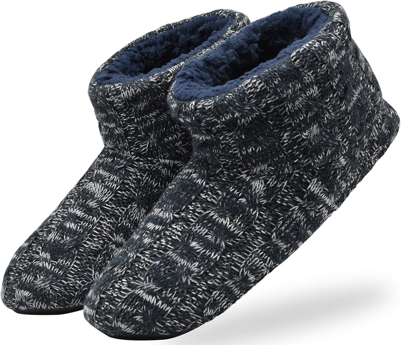 KuaiLu Zapatillas de Estar en Casa Hombre C/álido Invierno Interior Forro de Felpa Pantuflas Cerradas Espuma de Memoria C/ómodo Antideslizante Botines