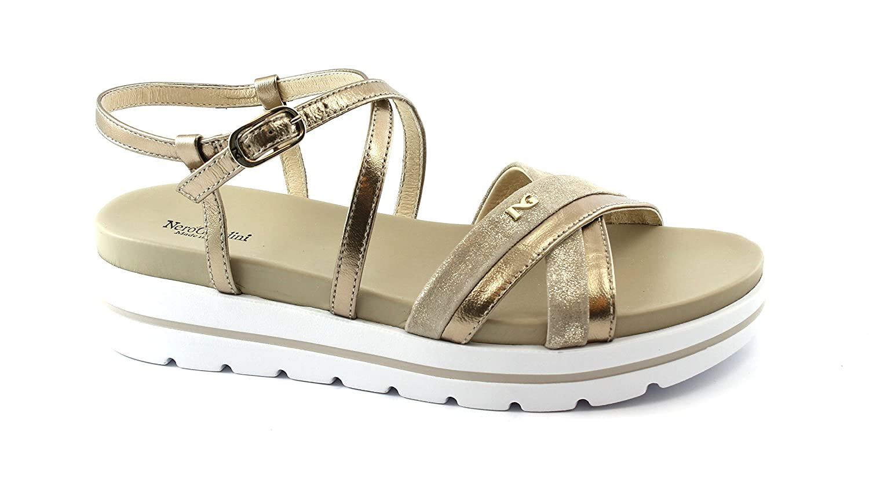 Nero Giardini 05850 Nettuno Gold Beige Schuhe Frau LederSandale Schnalle Plattform Kreuzung Beige