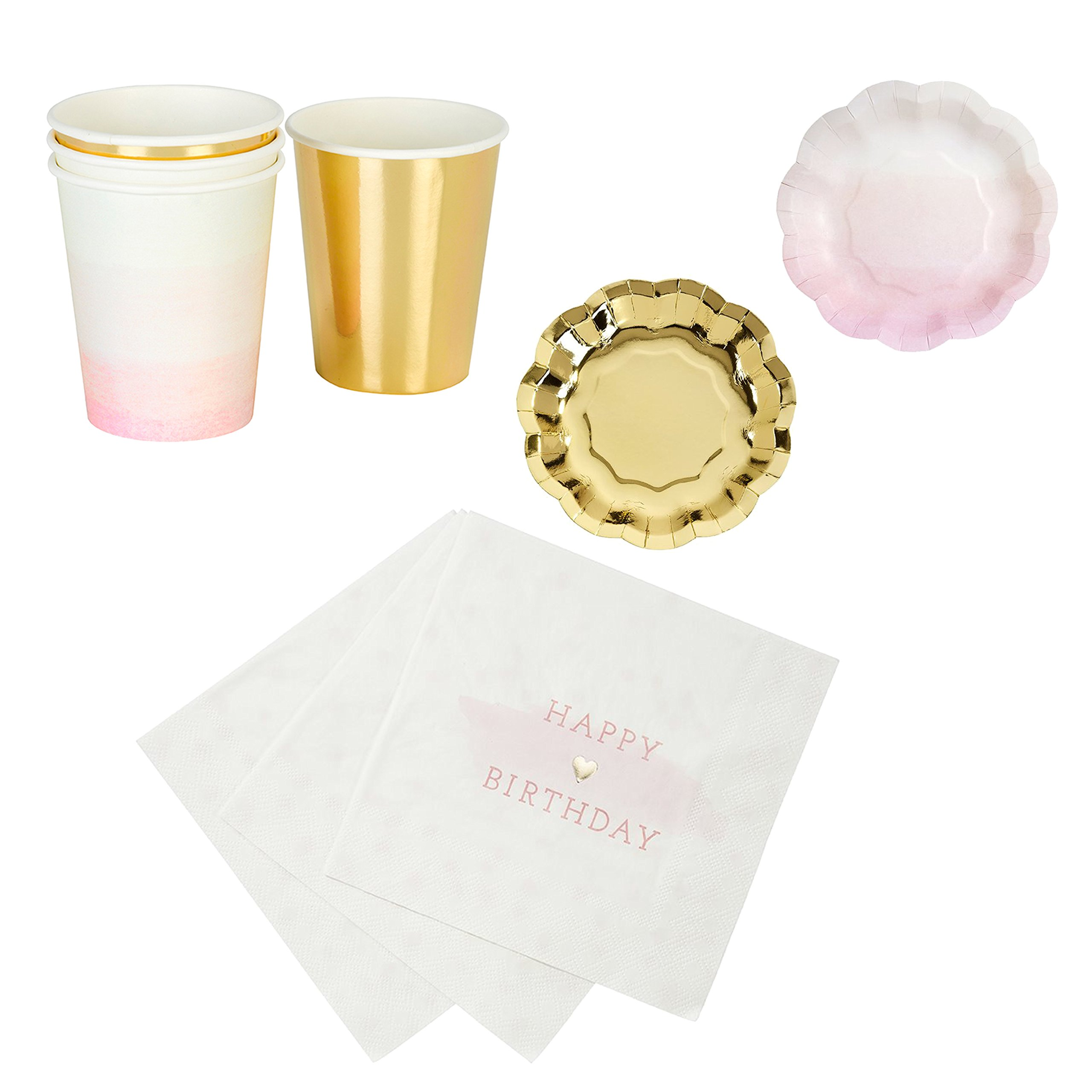 Talking Tables We Love Pink Happy Birthday Party Bundle | Designer Plates, Napkins, and Cups