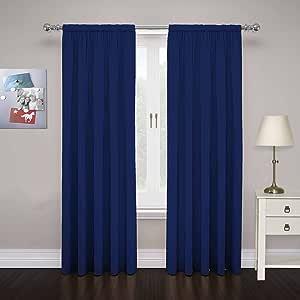 "PAIRS TO GO Cadenza 84"" x 80"" Rod Pocket Double Panel Privacy Window Treatment Living Room, Navy"