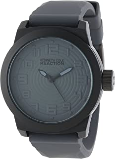 Kenneth Cole REACTION Unisex RK1308 Street Grey Case and Silicone Strap Grey Dial Watch