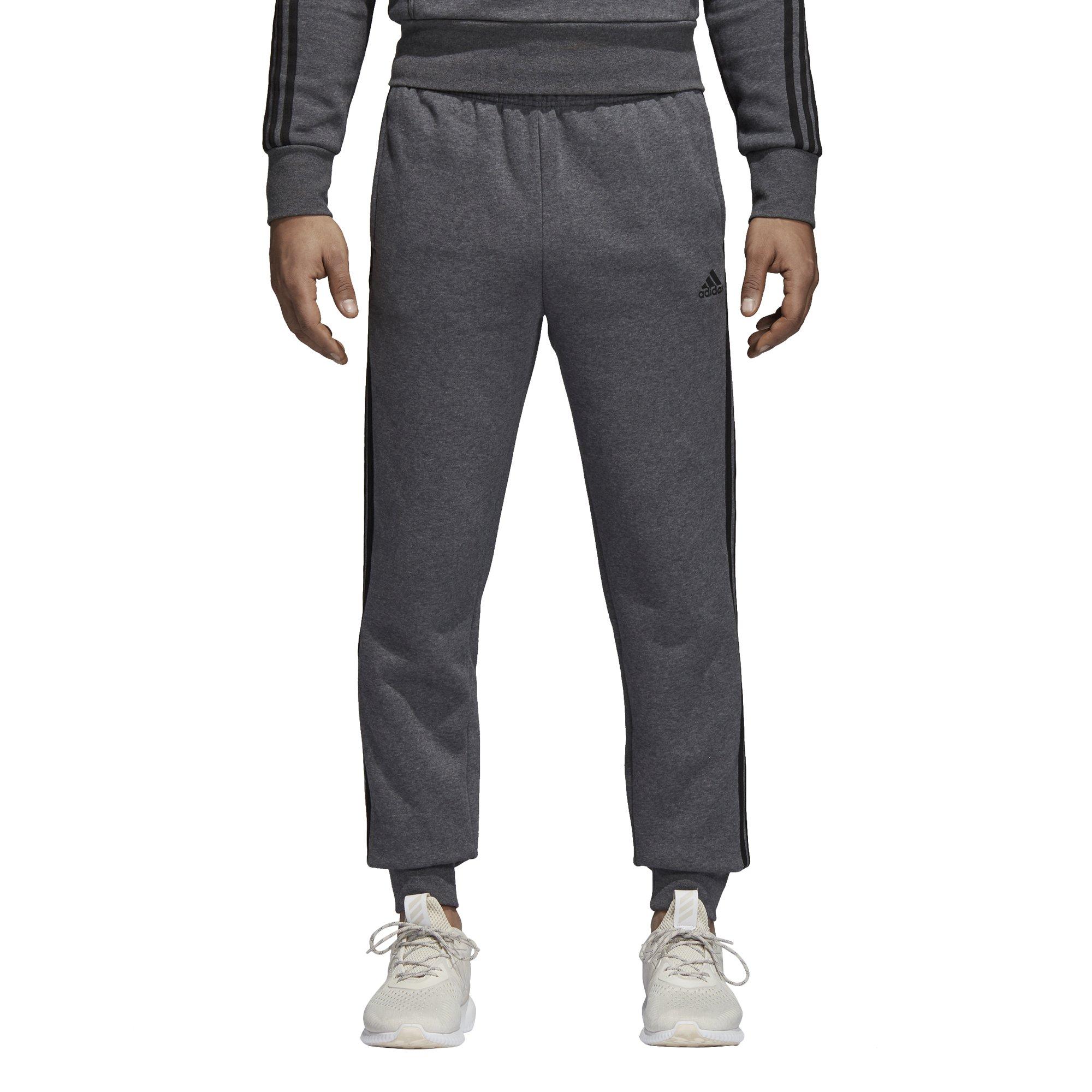 adidas Men's Essentials 3-Stripe Jogger Pants, Dark Grey Heather/Black, Small