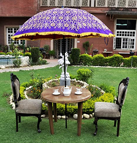 Lal Haveli Designer Embroidered Garden Umbrella Parasol Large 52 x 72 Inches