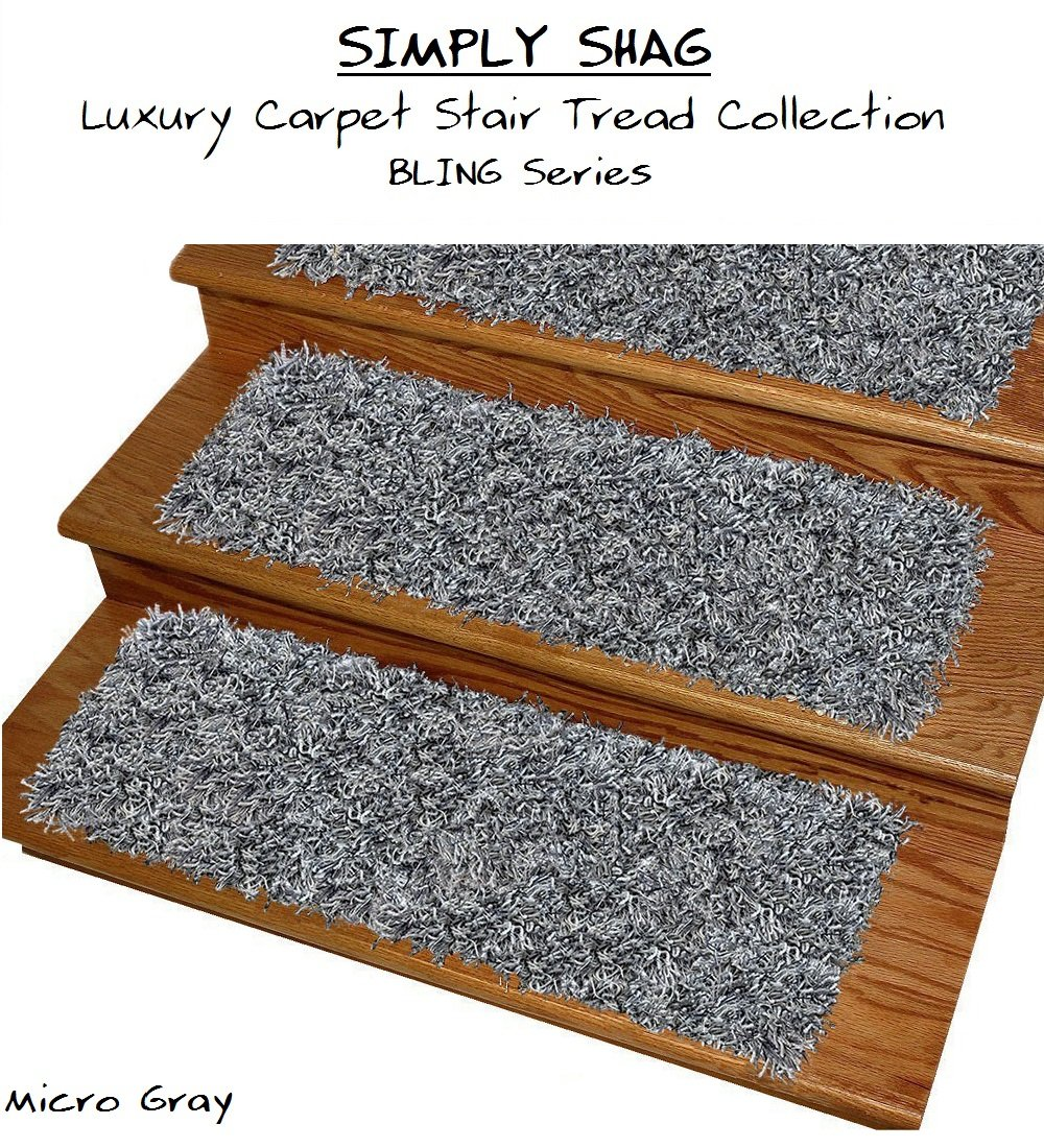 """9''x27'' SIMPLY SHAG Luxury Carpet Stair Tread Collection """"Bling Series''