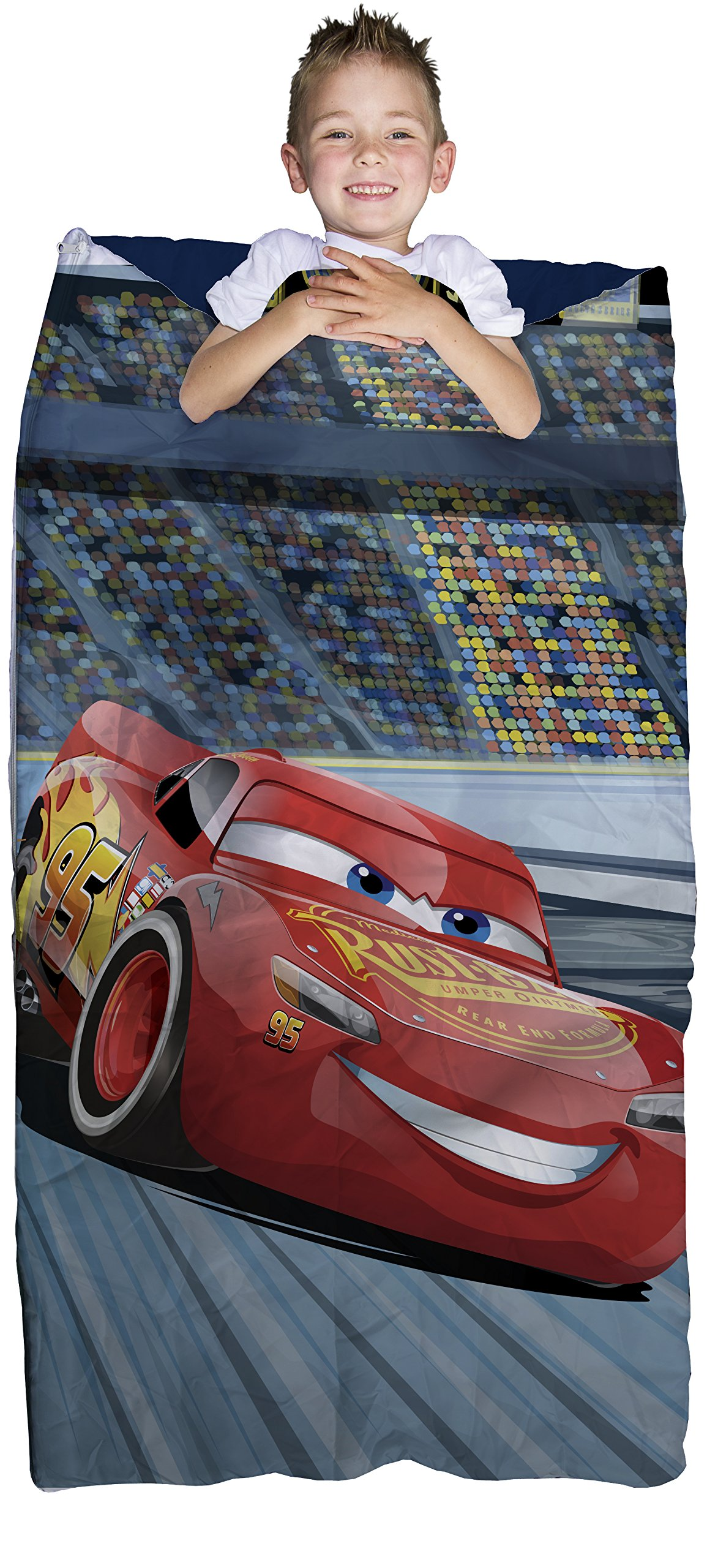 Disney/Pixar Cars 2-Piece Plush Slumber Bag and Backpack Set with Lightning McQueen, 30'' x 54''