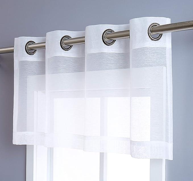 Amazon Com Decosource Semi Sheer Window Valance 54 W X 18 L Elegant Home Decor Window Treatments Valance 54 W X 18 L Ivory Off White Home Kitchen