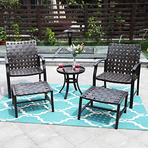 Sophia William Patio Set 5 Pieces Outdoor Patio Furniture 2 Strapping Chairs