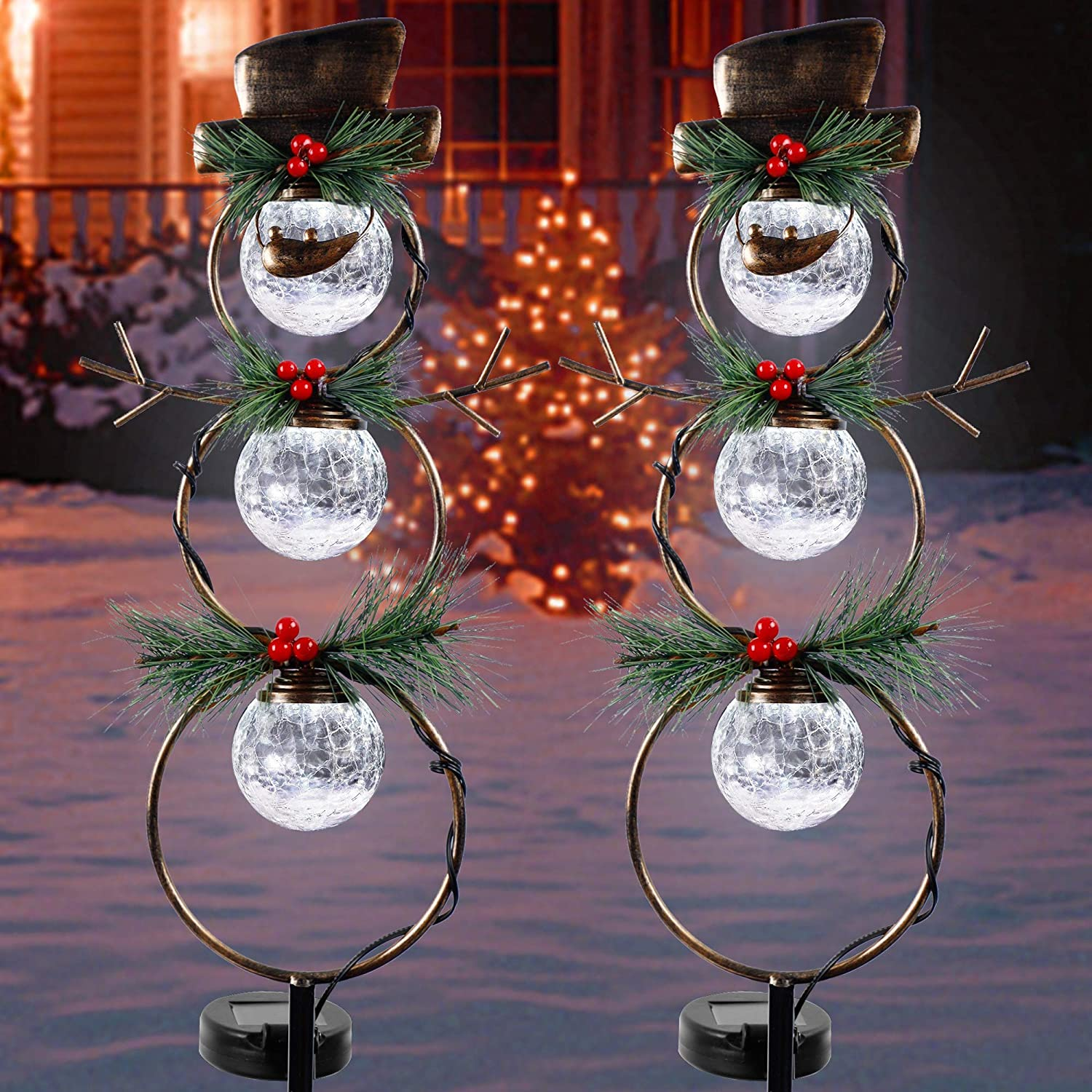 GUOOU Solar Christmas Yard Decorations, Outdoor LED Solar Powered Glass Ball Lights, Xmas Snowman Pathway Lights, Metal Solar Garden Stake Lights, Snowman Christmas Lawn Yard Ornament, Set of 2