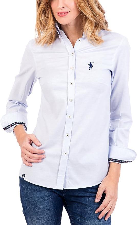 POLO CLUB Camisa Mujer Miss Rigby Oxford Azul Celeste M ...