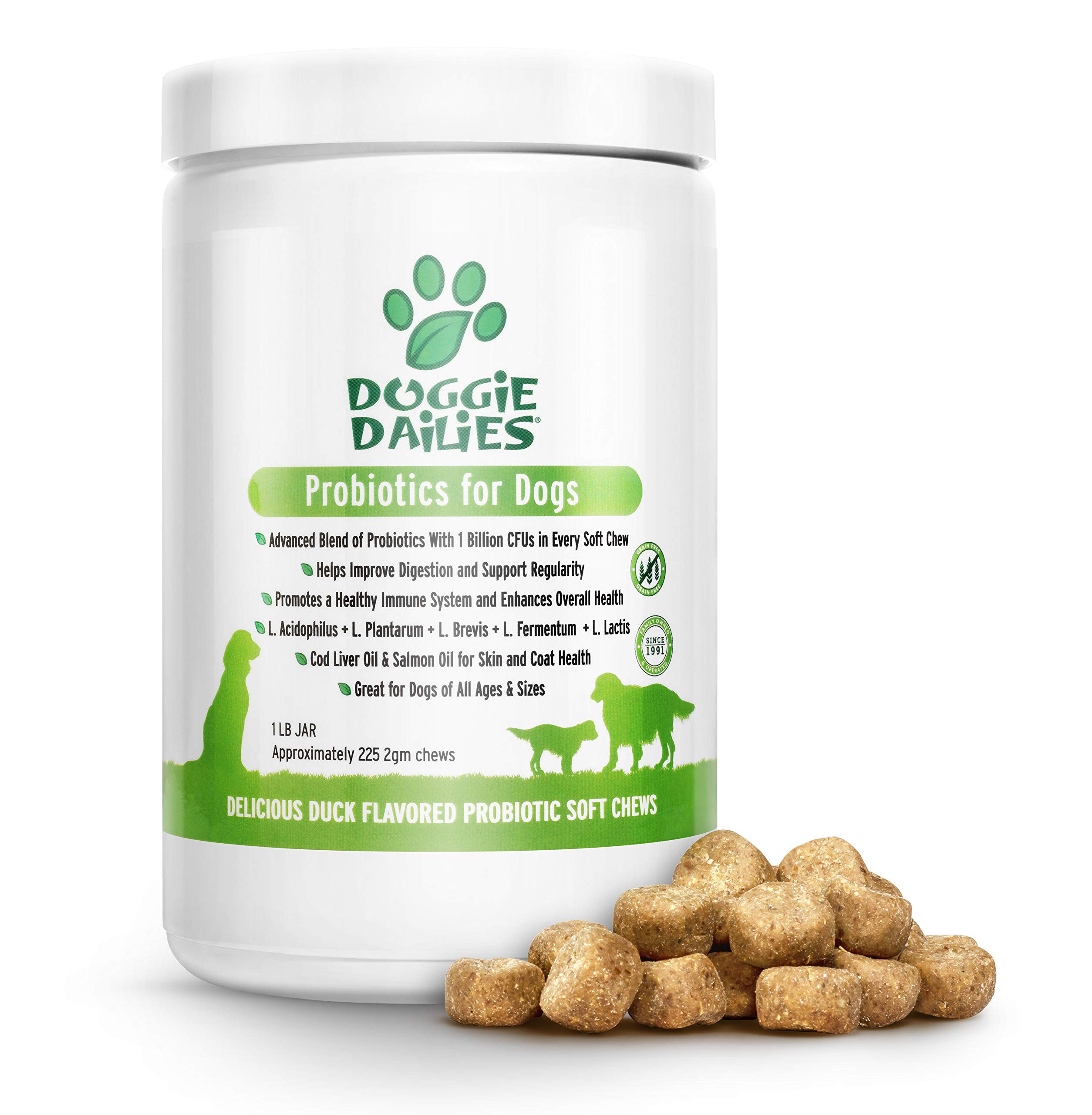 Doggie Dailies Probiotics for Dogs, 225 Soft Chews, Advanced Dog Probiotics with Prebiotics, Relieves Dog Diarrhea, Improves Digestion, Enhances Immune System, Improves Overall Health (Duck) by Doggie Dailies