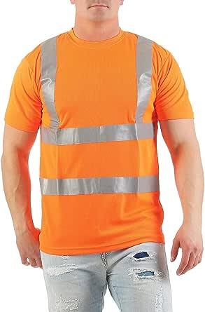 Mivaro Camiseta Manga Corta Alta Visibilidad Reflectante EN ISO 20471 Clase 2