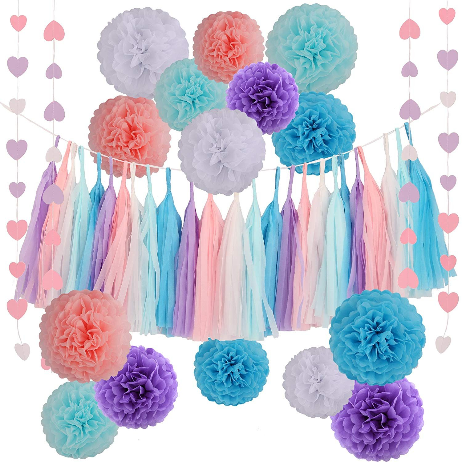 LyButty Tissue Paper Pom Poms Flowers Tissue Tassel Garland Love Hear Paper Garland Kit for Wedding Baby Bridal Shower Party Decorations Supplies by LyButty