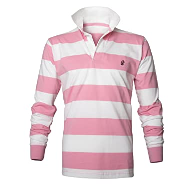 Mens Classic Rugby Shirt, Pink/White Stripe, XXL: Amazon.co.uk ...