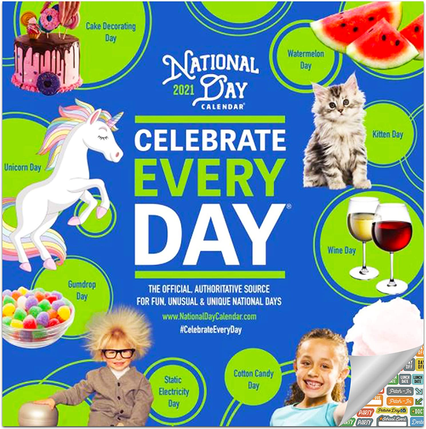 National Day Calendar 2021 Bundle - Deluxe 2021 National Day Wall Calendar with Over 100 Calendar Stickers (Every Day's a Holiday Day Gifts, Office Supplies)