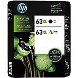 HP 63XL, (L0R44BN) High-Yield Original Ink Cartridges, Black/Tri-Color - 1 PACK