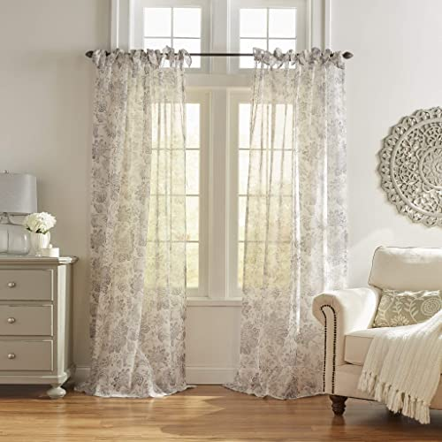 Elrene Home Fashions Westport Floral Tie-Top Sheer Window Curtain Panel, 52 x 95 1 , Gray