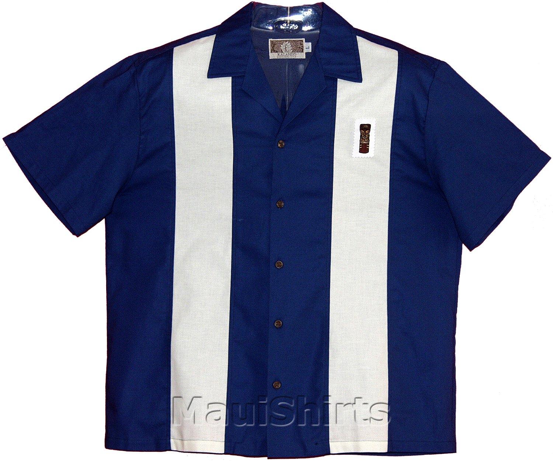 Embroidered Bowling Shirt - Tiki God Men's Hawaiian Aloha Solid Retro Panel Cotton Shirt in Navy Blue - M by RJC Men