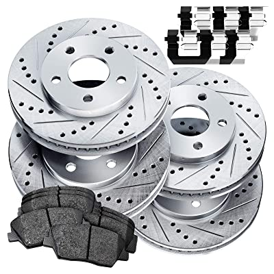 Fit 1984-1987 Chevrolet Corvette PowerSport Full Kit Brake Rotors Kit+Ceramic Pads: Automotive