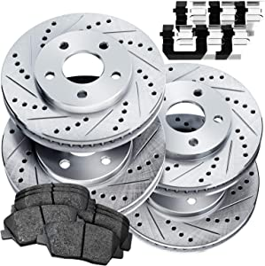 Fit 2006-2014 Honda Ridgeline PowerSport Full Kit Brake Rotors Kit+Ceramic Pads
