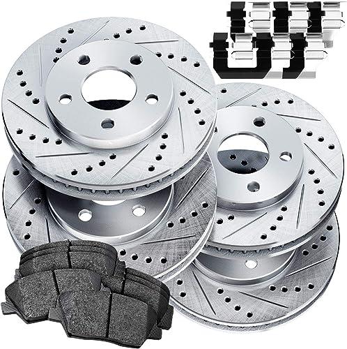 Full Kit Cross-Drilled Slotted Brake Rotors Kit