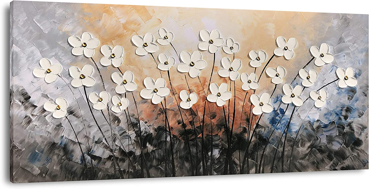 Yihui Arts Hand Painted Texture Large Oil Painting on Canvas Flower Wall Art for Living Room Decor Contemporary Artwork Framed Ready to Hang
