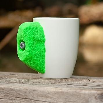 Taza de escalada de roca con agarre de mano para escalada real, apta para té caliente o café o bebidas frías   11 oz