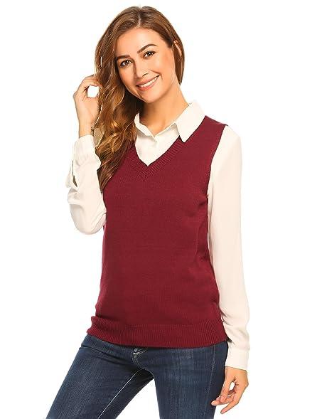 Kulzer Women Classic V-Neck Sleeveless Solid Slim Fit Thin Knit ...