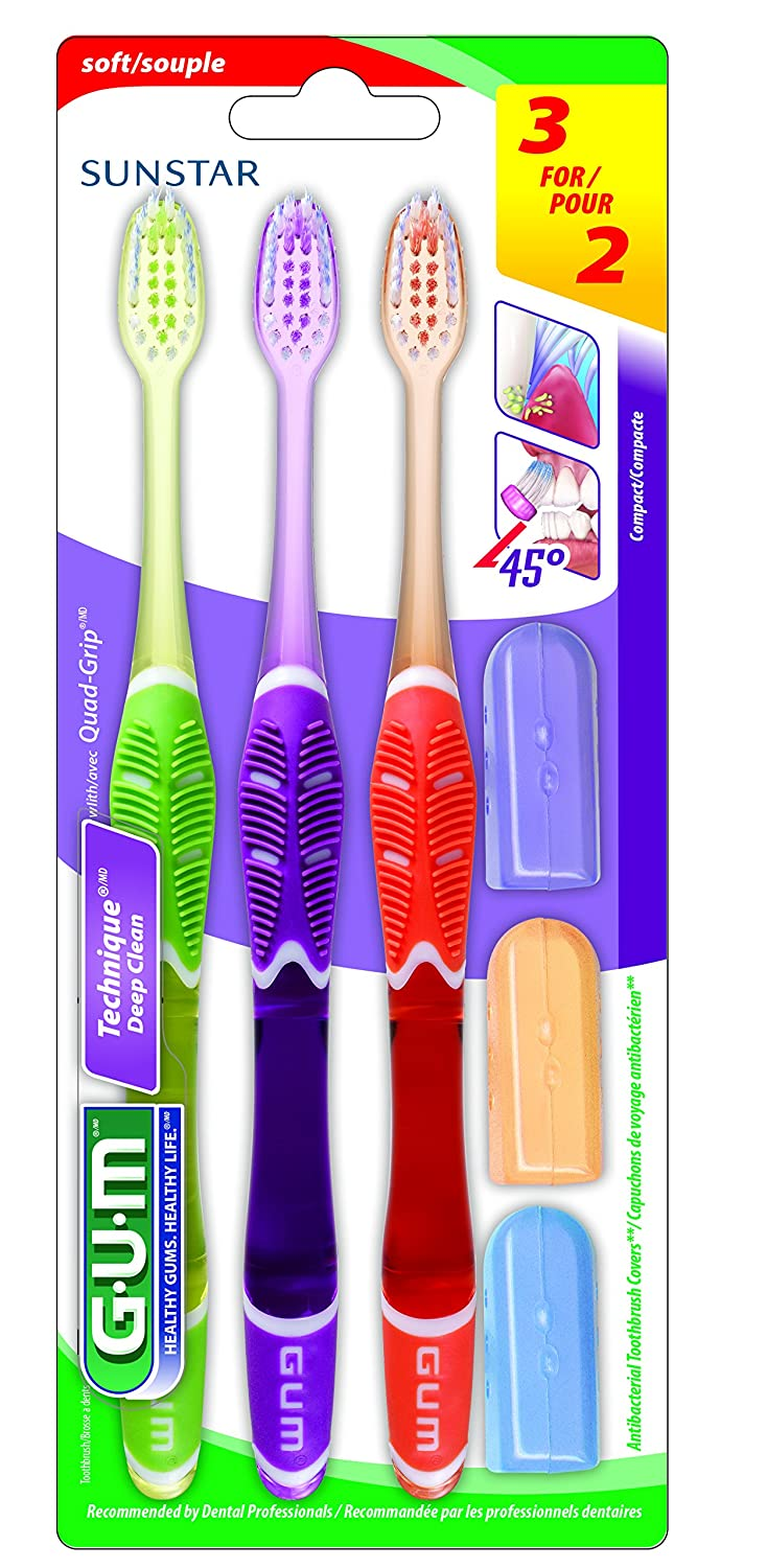 GUM Technique Deep Clean 3-Pack Toothbrushes with Travel Caps, Compact, 1 Count Manufacturer 525CP