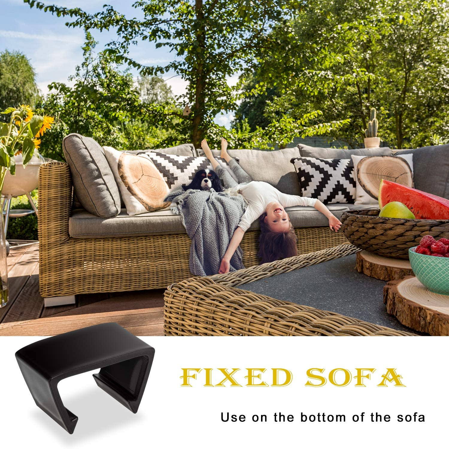 Acimone Outdoor Patio Wicker Furniture Clips 12PCS Sectional Sofa Rattan Furniture Clips Chair Fasteners