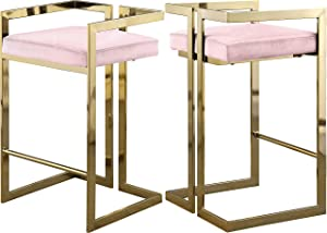 "Meridian Furniture Ezra Collection Modern | Contemporary Upholstered Counter Height Stool with Durable Steel Base, Pink Velvet, 19"" W x 17.5"" D x 31"" H"