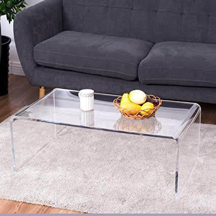 Tangkula Acrylic Coffee Table Modern Simple Home Office Living Room  Furniture Clear Rectangular Coffee Table End