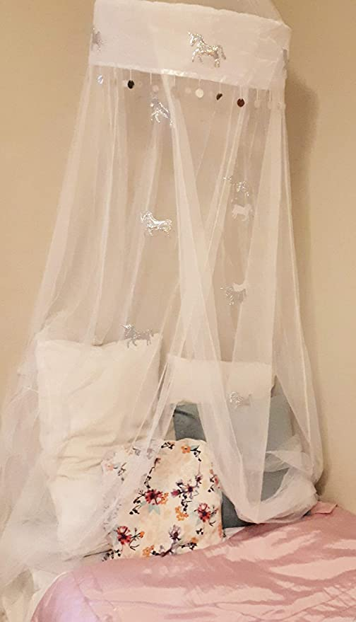 Unicorn Bed Canopy - White Mosquito Net Curtains - Unicorn Gift & Bedroom  décor/Decoration. for Adult, Kids, Toddlers, Little Girl Tween & Teen