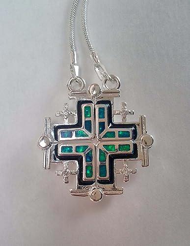 Amazon jerusalem cross open pendant necklace silver plated opal jerusalem cross open pendant necklace silver plated opal aloadofball Images