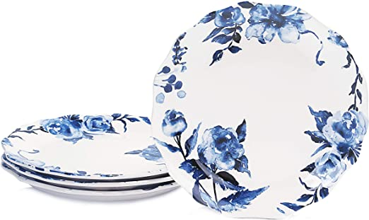 for Pasta Salad Set of 4 Bico Watercolor Blue Flower Ceramic 11 inch Scalloped Dinner Plates Microwave /& Dishwasher Safe Maincourse