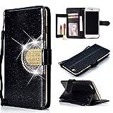 Glitter Rhinestone Leather Wallet Case for Moto