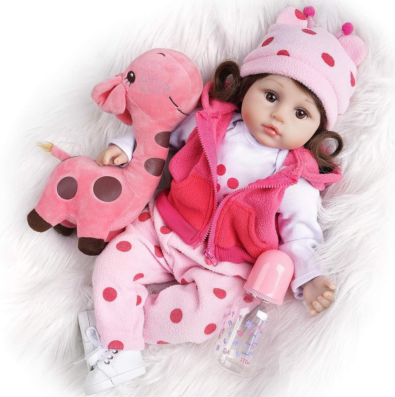 Super Realistic Reborn Baby Doll HQToy Cloth Stuffed Body Free Giraffe BDay Gift