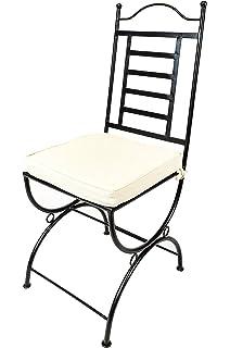 Original Orientalischer Stuhl Gartenstuhl Aus Metall Schwarz La Linea    Marokkanischer Balkonstuhl Inkl. Sitzkissen Stuhlkissen