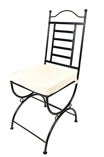 Original Orientalischer Stuhl Gartenstuhl Aus Metall Schwarz La Linea |  Marokkanischer Balkonstuhl Inkl. Sitzkissen Stuhlkissen