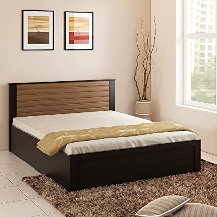 Spacewood Cosmos King Size Bed with Storage  Woodpore, Natural Wenge  Bedroom Furniture