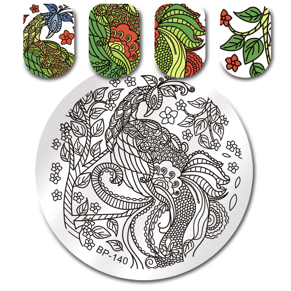 BORN PRETTY Round Stamping Plate Halloween Skull Flower Heart 5.5cm Manicure Nail Art Image Plate BP-146