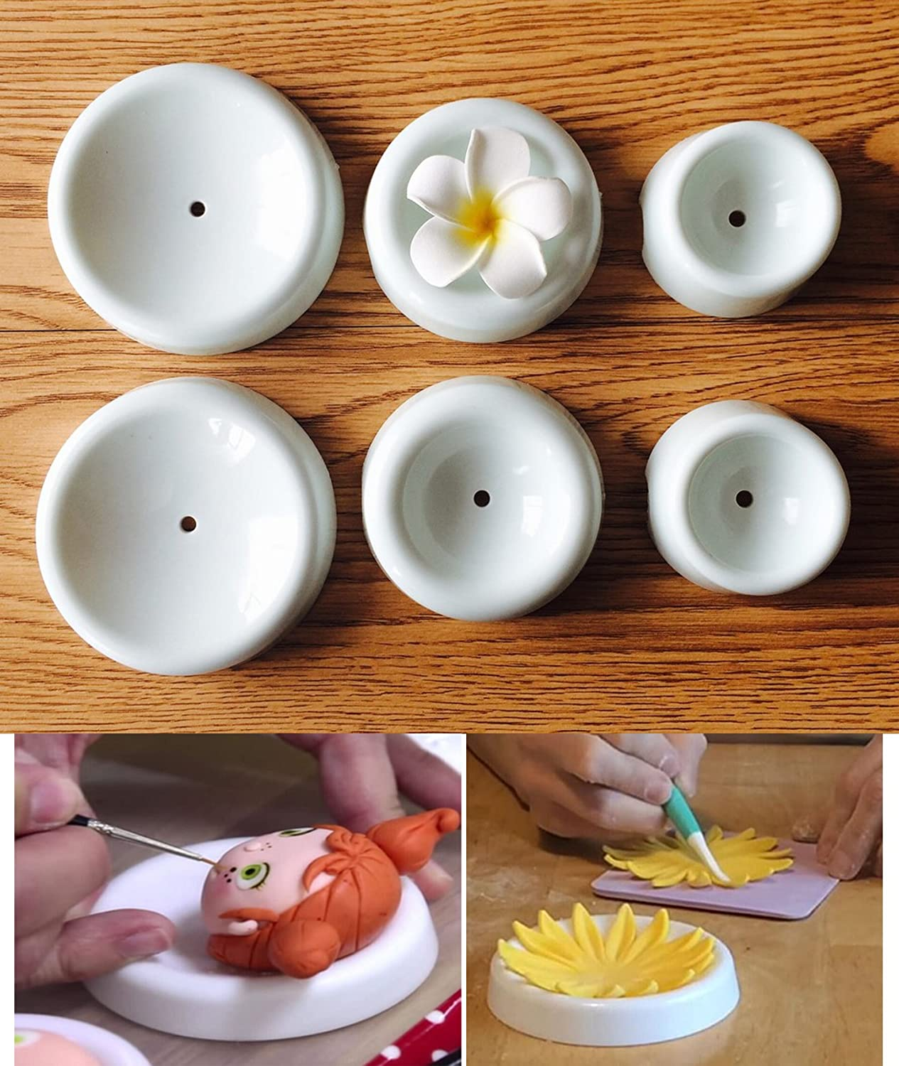 Fondant Drying Moulds 6 Pcs/Set, KOOTIPS Button Shapes Fondant Forming Cups Flower Drying Moulds Flower Cup Holder Cake Decorating Tools Kootips-1-341