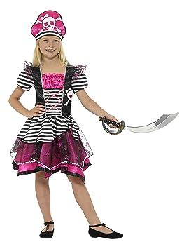 Smiffys Smiffys-21981L Disfraz Pirata para Chica, con Vestido y Sombrero Color Negro y