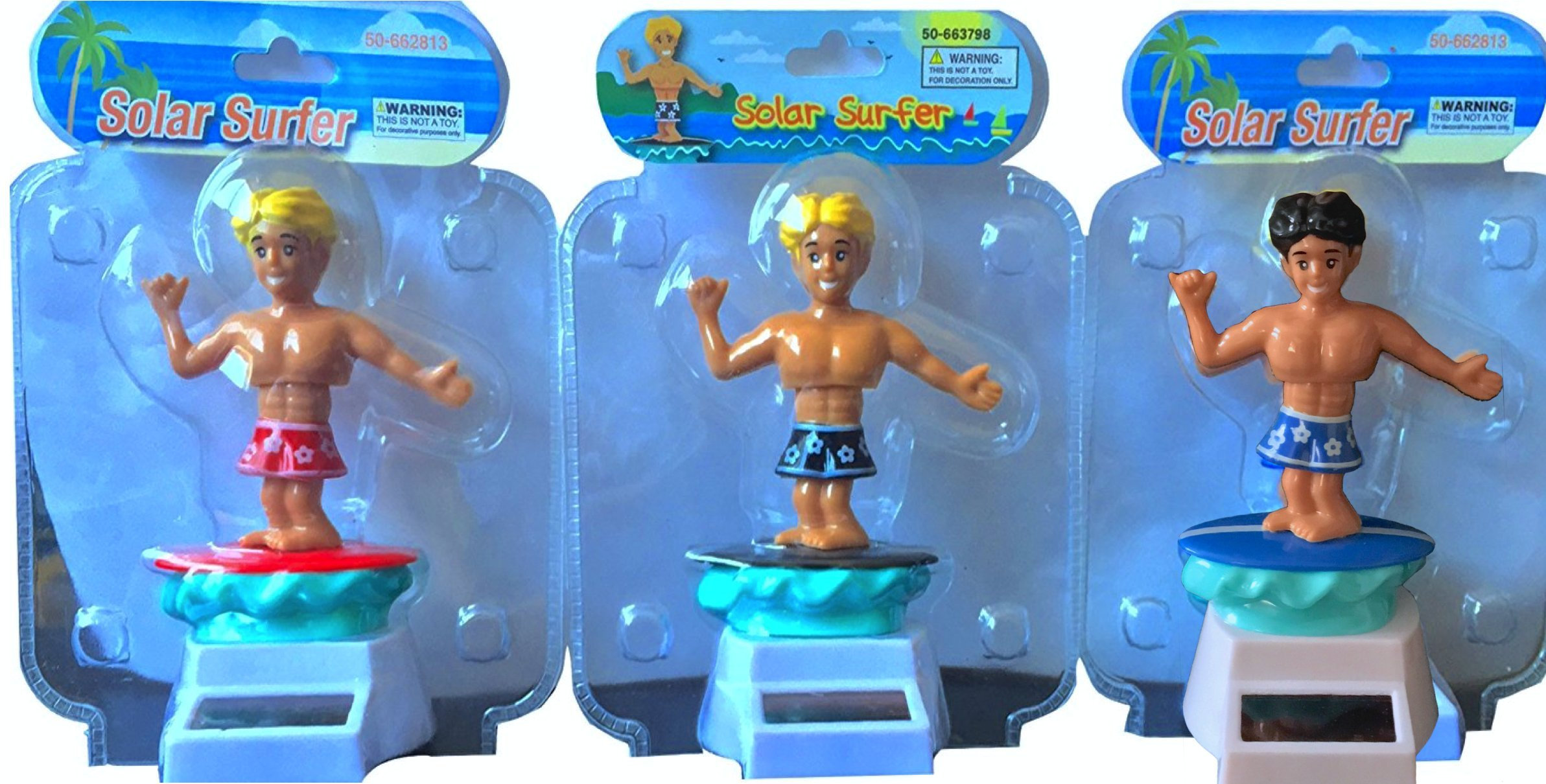 Solar Surfer Dude Pack of 3 the Complete Rare Hard to Find Solar Surfers No Batteries Needed