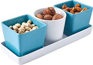 bruntmor 4-Piece Ceramic Tray with Three compartment serving Bowl Dishes, Modern and versatile design Dining serve-ware, White/Teal