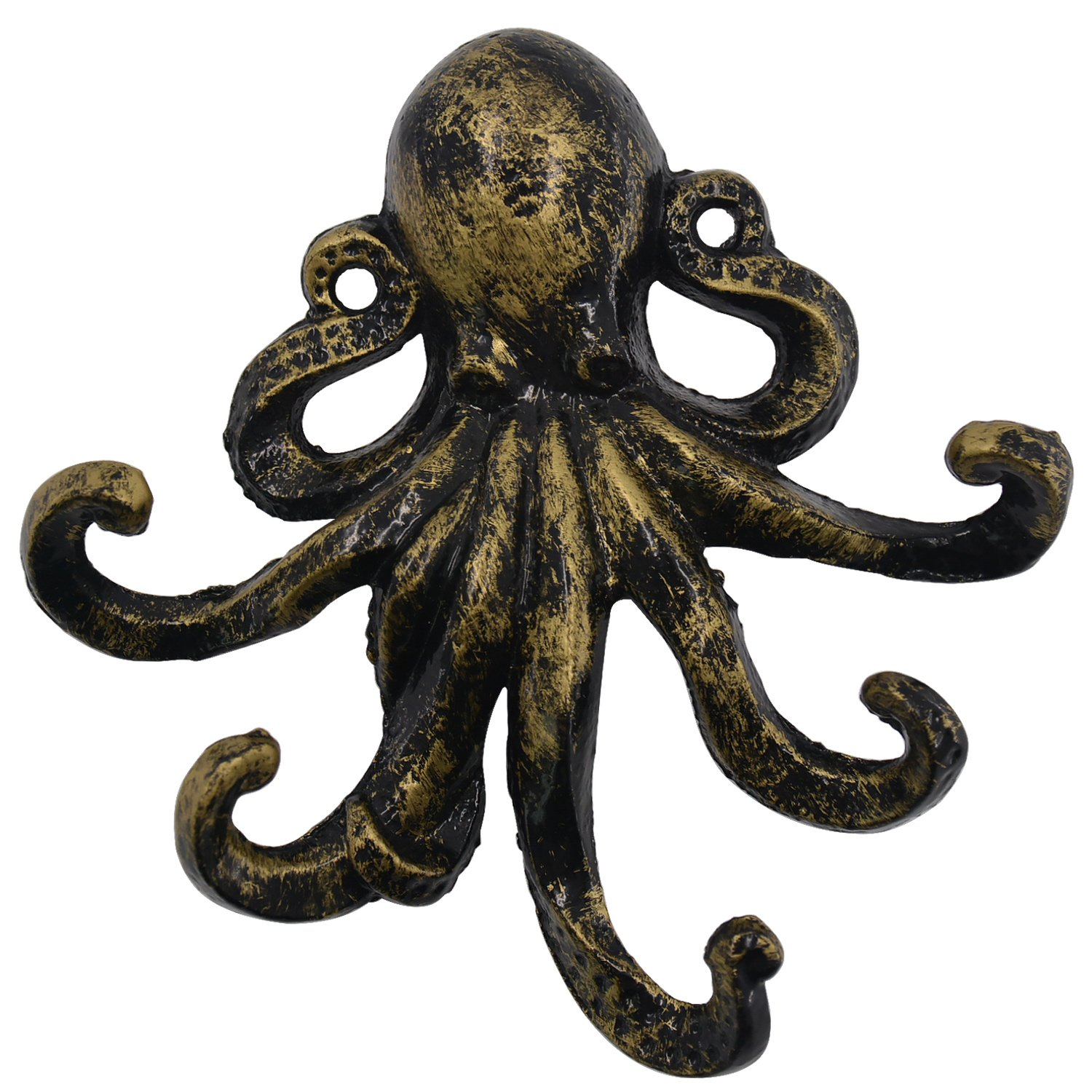 HERNGEE Med-Style Octopus Key Hooks Antique Bronze Cast Iron Decorative Wall Hook